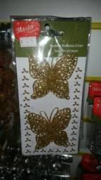 Enfeite de natal 2 borboletas com gliter