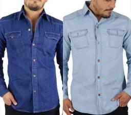 Kit 2 camisas sociais masculina tecido leve slim fit.