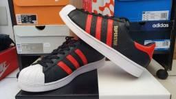 Tênis Adidas Superstar Premium, Preto/Vermelho, Couro Legítimo, 100% Original, Tam.42
