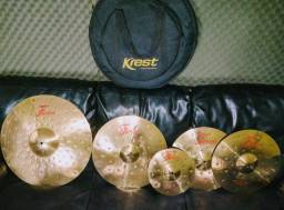 Kit pratos Krest Fusion B8- Hats, Ride, Crash, Splash e Bag