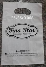 500 40X50 Sacolas personalizadas, alça camiseta, 1 cor 1 lado