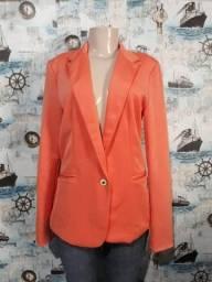 blazer alongado forrado tam M 42 30,00 cor tangerina
