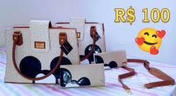Conjunto Bolsa + Carteira em Couro Palha Gouveia Costa - Entrega grátis