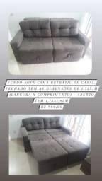 Vendo sofá cama retrátil de casal. Fechado tem as dimensões de 1,75x1m.