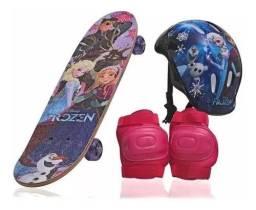 Skate Infantil Frozen+kit Segurança De Brinde