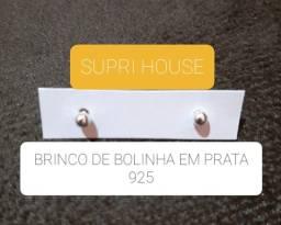 BRINCOS DE BOLINHA EM PRATA