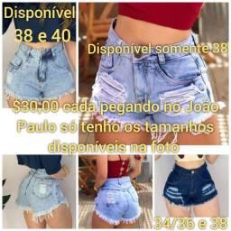 Shorts jeans Novos $30,00 cada