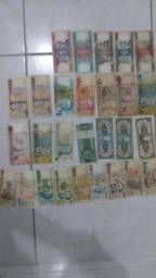 Coleção 28 cédulas notas de dinheiro antigo