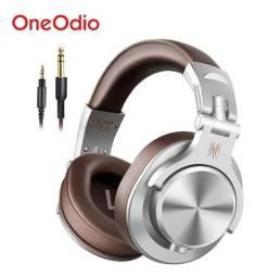 Headset DJ OneOdio A71 Dobrável Falante 40mm Duplo Conector P2/P10 - Marrom/Prata *Novo