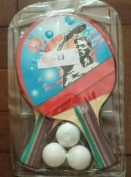 Kit Tenis De Mesa Jogo De Ping Pong 2 Raquetes + 3 Bolinhas
