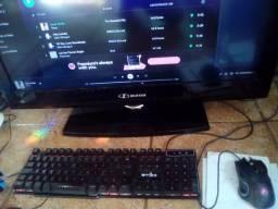 TV Monitor de 30 polegadas + PC + Teclado com LED Colorida + Mouse Em Led Colorido