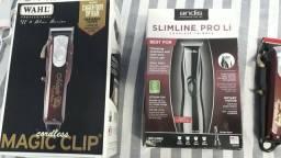 Máquina wahl magic clip cordless e Andis Slim Line pro black