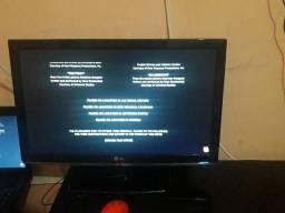 Tv lg 22 polegadas entrada hdmi usb vga e videos controle original
