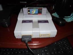 Super Nintendo branquinho com Mario original