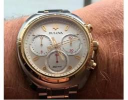 20822c18ceb Relógio Bulova Curv Cronógrafo 98a157 aço ouro Precisionist