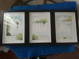 Conjunto de 3 quadros pintado a mão