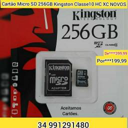 Cartão Micro SD 256GB KINGSTON Classe10 XC HC NOVOS LACRADOS