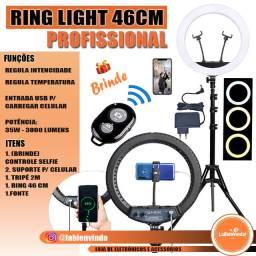 Entrega Grátis!! Ring Light Profissional 18 Polegadas 46cm + Tripe + Suporte Cel+ Fonte