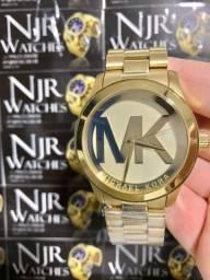 Relogio feminino mk banhado a ouro novo