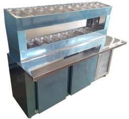 Balcão refrigerado com porta condimentos Duplo - 1,90x0,70 pronta entrega
