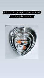Kit 3 formas coração -ABC