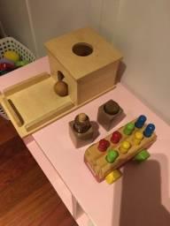 Kit 3 brinquedos madeira