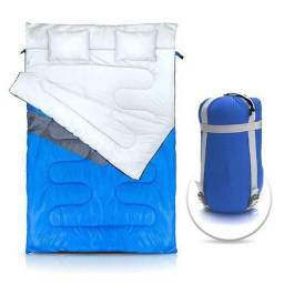 Saco de dormir duplo NTK para casal com 2 travesseiros incorporados Kuple Azul