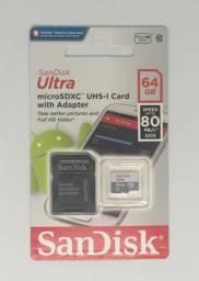 Cartão De Memória Micro Sd 64GB Sandisk Classe 10 Ultra Original Novo na Embalagem Lacrada