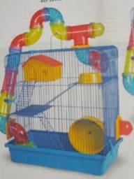 Gaiola nova para hamster tubular super luxo três andares