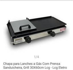 Chapa para lanches à gás, com prensa