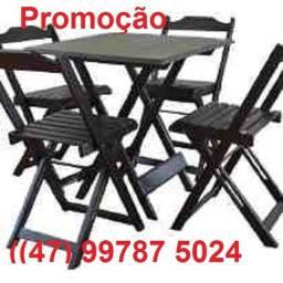 Conjunto Dobrável com mesa 70x70 com 02 ou 04 cadeiras