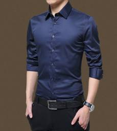 Camisa social slim azul escuro