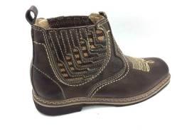 Botina bota rancheiro fabricada em couro látego manchado direto da fábrica