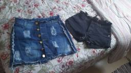 Short e saia Jeans