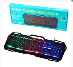 Teclado gamer Semi-mecânico led rgb pt-br usb - weibo wb-539