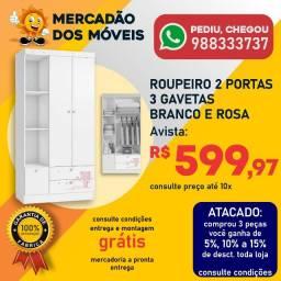 Roupeiro 2 Portas 3 Gavetas Branco e Rosa Super Barato!!!
