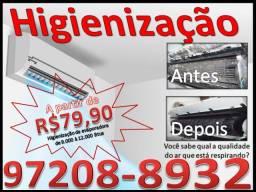 Limpeza e higienização de ar condicionado R$79,99