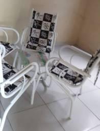 Conjunto Cadeira de Terraço com centro de Vidro