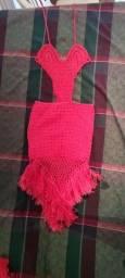 Vestido de Crochê Premium Rosa  (Mãe e  Filha ou Irmãs)