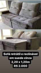 Sofá retrátil e reclinável em suede cinza 2,20 x 1,20