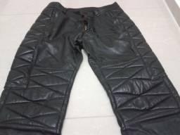 Calça de couro masculina motociclismo