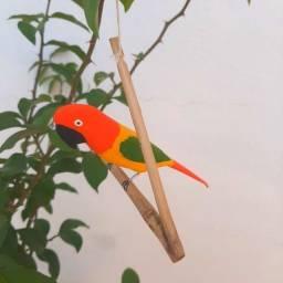 Pássaro de Madeira Periquito Laranja