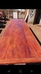 Mesa com bancos madeira demolição peroba rosa