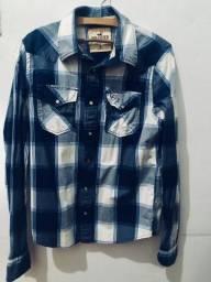 Camisa Xadrez Hollister Azul M