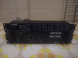 1 Amplificador WattSom DBS 1500 (2 canais) e 1 Crossover C-03 Logos (3 vias) Profissional
