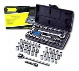Jogo de chave soquete 40 peças novo na caixa