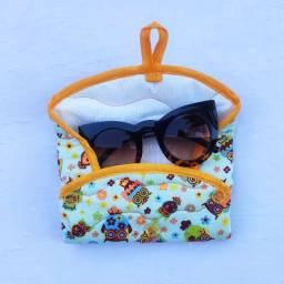Porta óculos tecido retangular forrado estampado