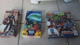 Lote de quebra cabeça dos vingadores,amigos do mar,avengers por 50 reais