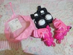 Patins infantil reajustável rosa de numeração 35