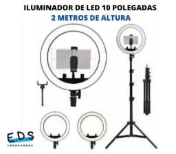 Título do anúncio: Ring Light 2 Metros de Altura Anel de 10 Polegadas 3 Intensidade de Cores